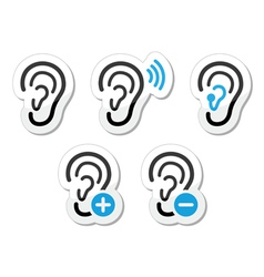 Ear hearing aid deaf problem icons set as labels vector image