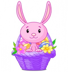 Easter basket with bunny vector image