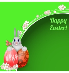 Easter card with rabbit and colored Easter eggs vector