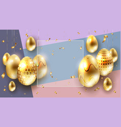 easter multicolor composition with golden eggs on vector image