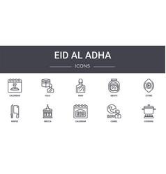 Eid al adha concept line icons set contains icons vector