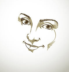 Facial expression hand-drawn of face of delicate g vector image