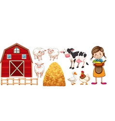 Farmer and farm animals vector image