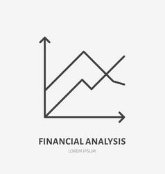 financial analysis flat logo chart graph icon vector image