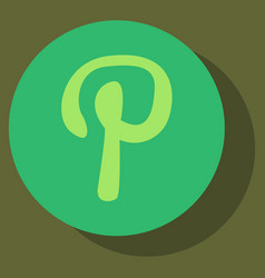 flat icon of pinterest on background with shadow vector image