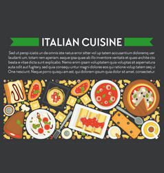 food italy italian cuisine banner pizza and vector image