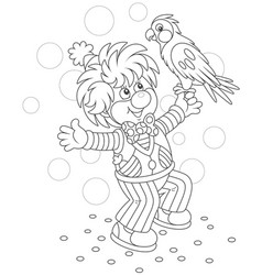 Funny clown playing with a parrot vector