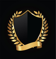 Gold and black shield with laurels 10 vector