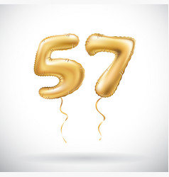 golden number 57 fifty seven metallic balloon vector image