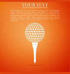 golf ball on tee icon on orange background vector image