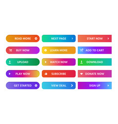 Gradient buttons rectangular next page button vector