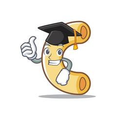 Graduation macaroni character cartoon style vector