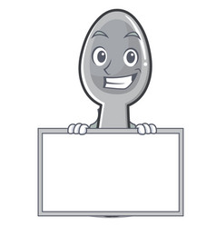 Grinning with board spoon character cartoon style vector