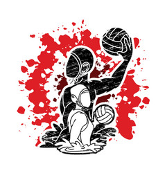 Group water polo players action cartoon vector