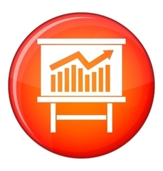 Growing chart presentation icon flat style vector