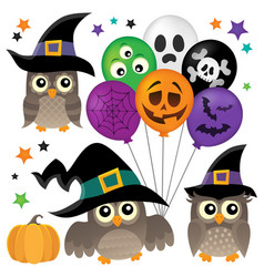 Halloween owls thematic collection 1 vector