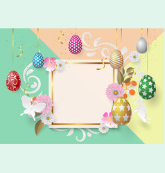 happy easter template with gold ribbon and vector image