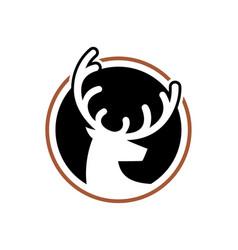 Head deer logo with round shape dear logo vector