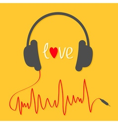 Headphones with red cord in shape of cardiogram vector