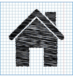 Home icon with pen effect on paper vector image