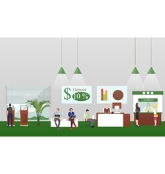 Horizontal banners with bank interiors vector image