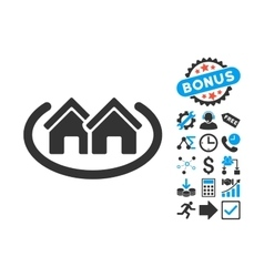 Houses Area Flat Icon with Bonus vector image