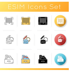 Inventory management icons set product barcode vector