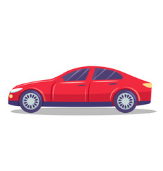 isolated red modern automobile with two doors for vector image