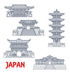Japanese travel landmarks nikko shrines temples vector