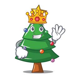 King christmas tree character cartoon vector
