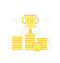 large trophy on gold coins podium business vector image