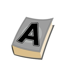 Letter A on cover of book Old Edition with vector image