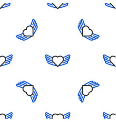 Line heart with wings icon isolated seamless vector