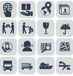 Logistics icons set on grey background vector