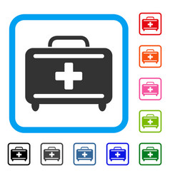 medical briefcase framed icon vector image