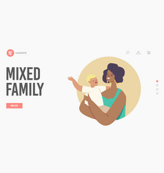 Mixed family landing page template multicultural vector