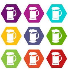 mug of dark beer icon set color hexahedron vector image
