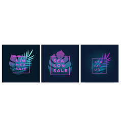 neon gradient fern and monstera palm leaf in a vector image