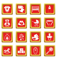 Newborn icons set red vector