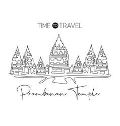 One single line drawing prambanan temple landmark vector