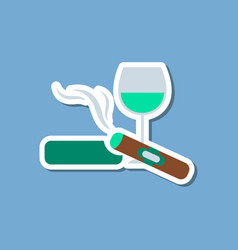 Paper sticker on stylish background cigar glass vector