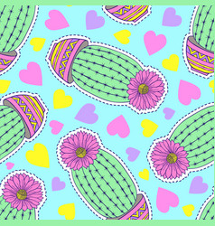 Pattern with cactuses and hearts vector