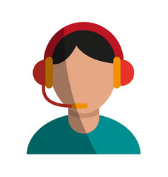 Person with headset ecommerce or customer service vector