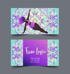 Plus size curvy lady doing yoga class yoga card vector