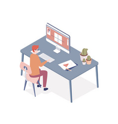 Professional designer sitting at desk and vector
