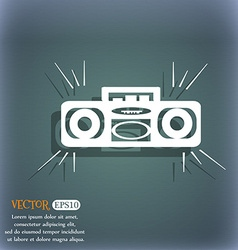 Radio cassette player icon On the blue-green vector image