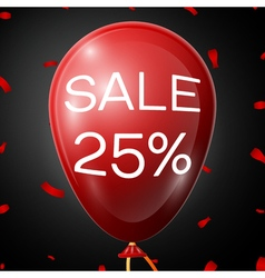 Red Baloon with 25 percent discounts over black vector