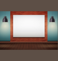 Red brick wall room with billboard vector