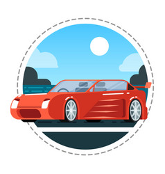Red luxury car icon vector