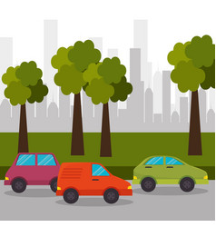 road car town with tree vector image